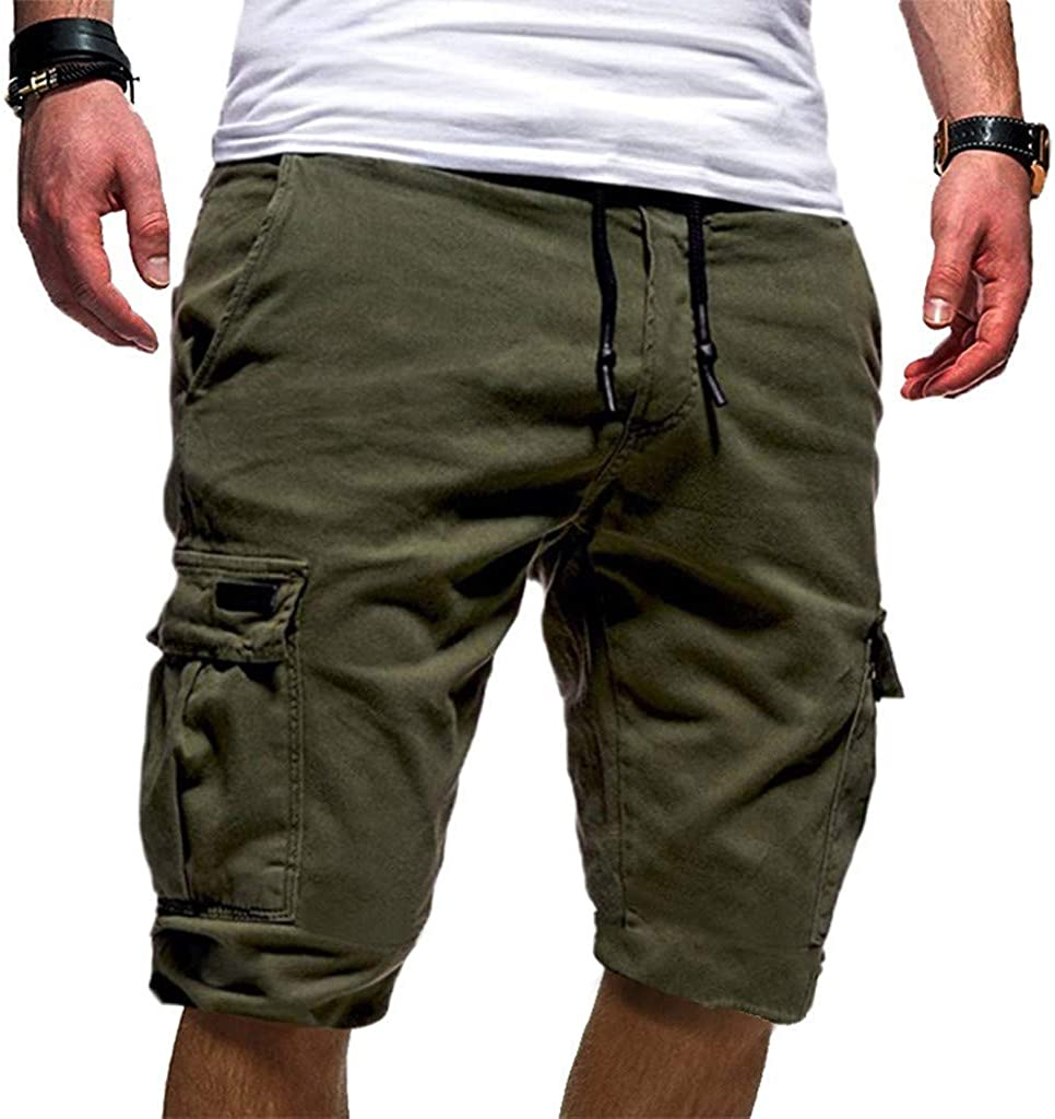 Mens Shorts Casual Classic Fit Drawstring Summer Beach Shorts with Elastic Waist and Pockets