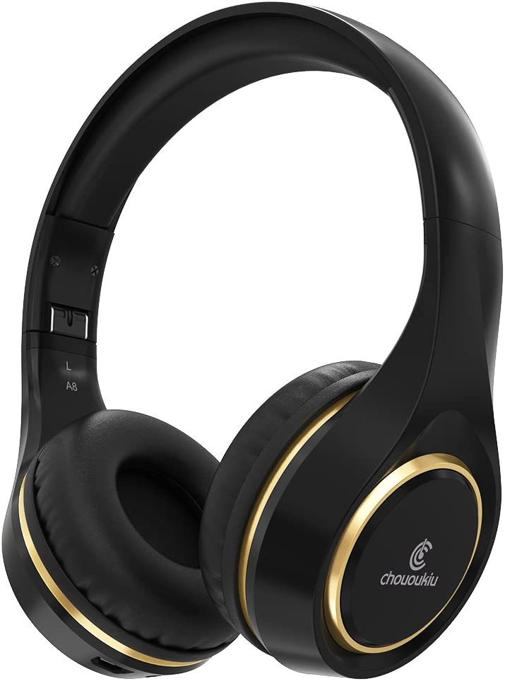 Bluetooth Headphones On Ear, Chououkiu Wireless Headset Foldable Hi-Fi Stereo Headphone with Mic in-line Volume, Wired and Wireless Headphones for Cell Phone/TV/PC (Black/Gold)