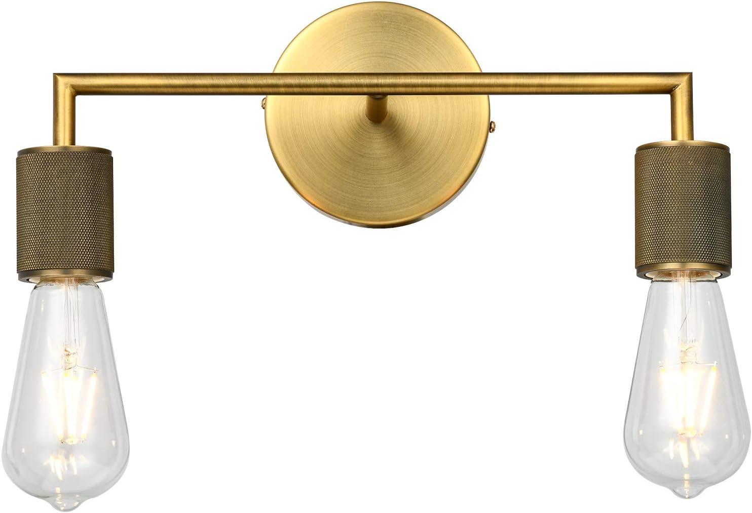 PASSICA DECOR 2 Light Antique Brass Sconce Vintage Wall Light Industrial Vanity Light Lamp Bathroom