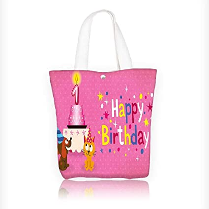 Women s Canvas Tote Handbags Decorations Animal Party with Cat and Dog on  Pink Polka Dot Abstract ae6b808ba5
