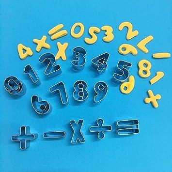 TINGSU - Molde para galletas con símbolos numéricos reutilizables ...