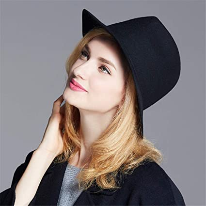 70c1b1d515f Man hongjia Retro Wool Felt Wide Brim Ribbon Star Winter Floppy Hats Jazz  Hat for Women