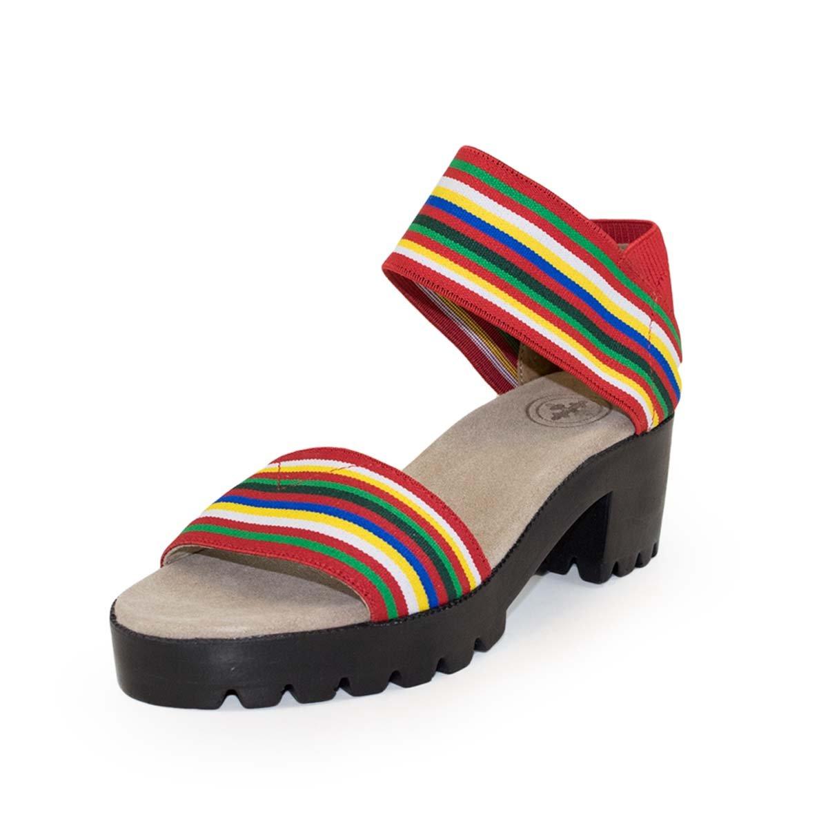 Monterey Lug Sole Sandal by Charleston Shoe Co. B07DTKHQXW 6 B(M) US|Red Multi Striped