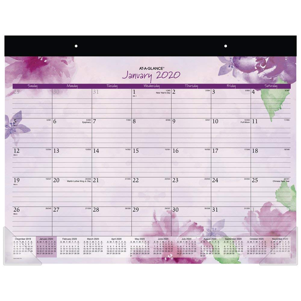 "AT-A-GLANCE 2020 Desk Calendar, Desk Pad, 21-3/4"" x 17"", Standard, Beautiful Day (SK38-704)"