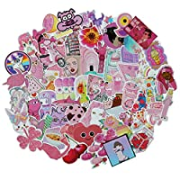 Cute Pink Girl Stickers Pack 64-Pcs Decals of Bumper Stickers Decals for Cars Motorcycle Portable Luggages Laptops Waterproof Sunlight-Proof (64pcs Pink Girl)