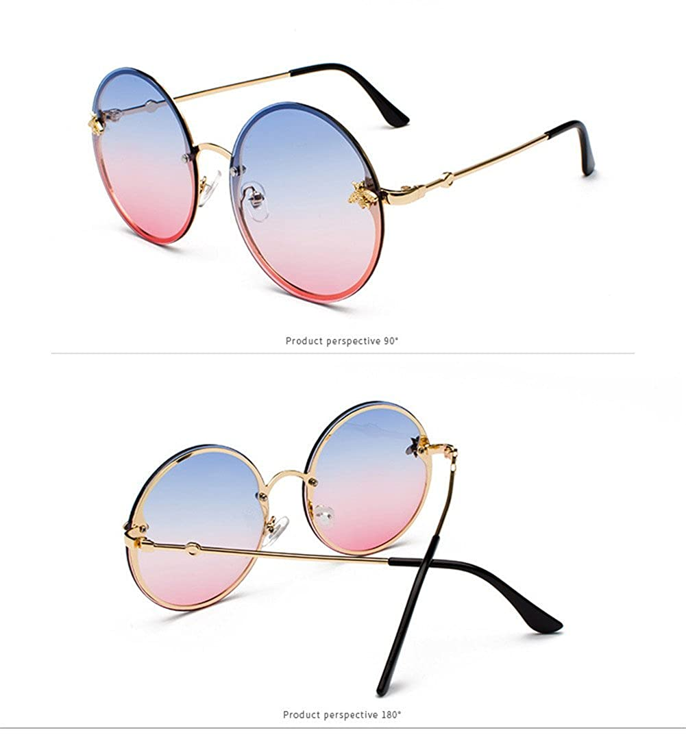 gs000047 lureme Vintage Round Gradient Decorated with Bees Rimless UV Protection Sunglasses