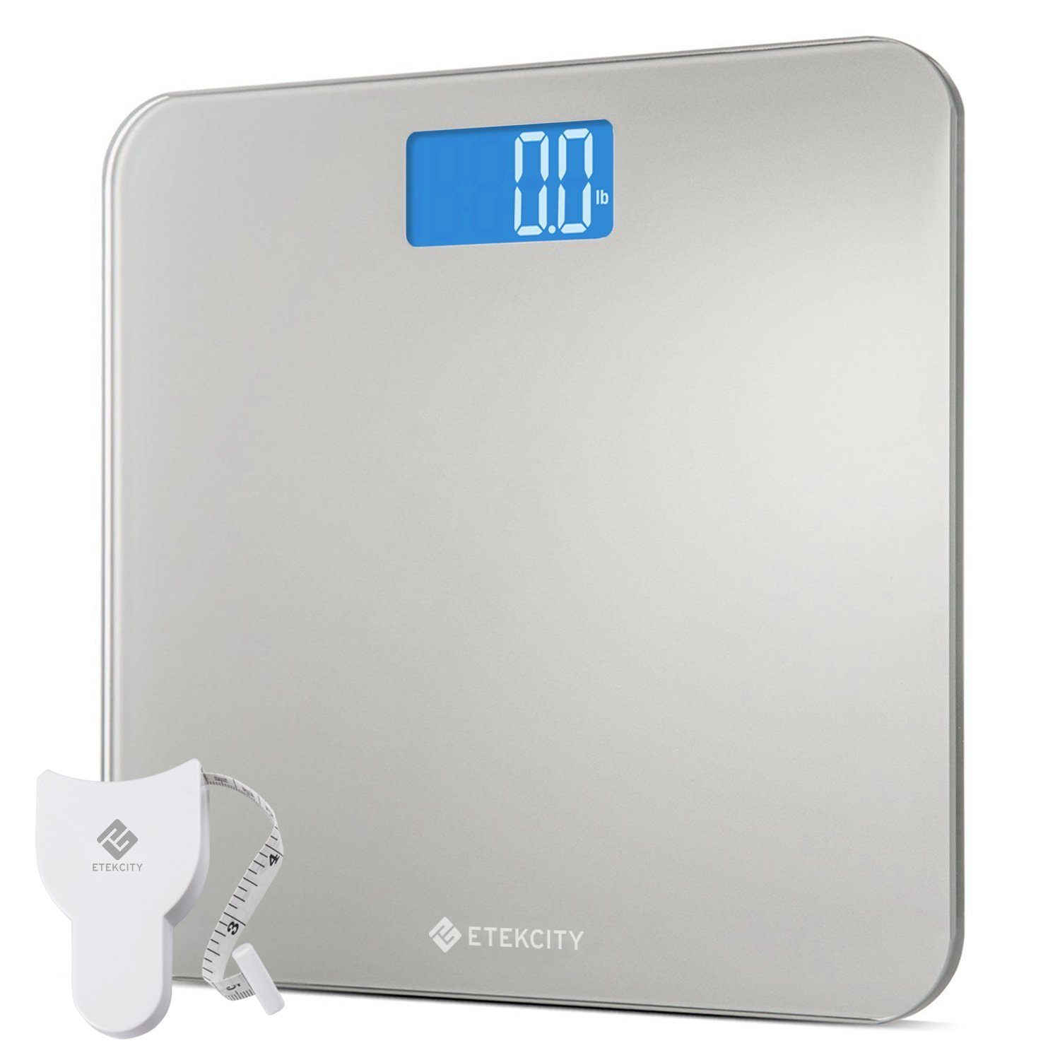 Etekcity High Precision Digital Bathroom Scale, Body Weight Scales with Body Tape Measure and Round Corner Design, Large Blue LCD Backlight Display, 400 pounds by Etekcity