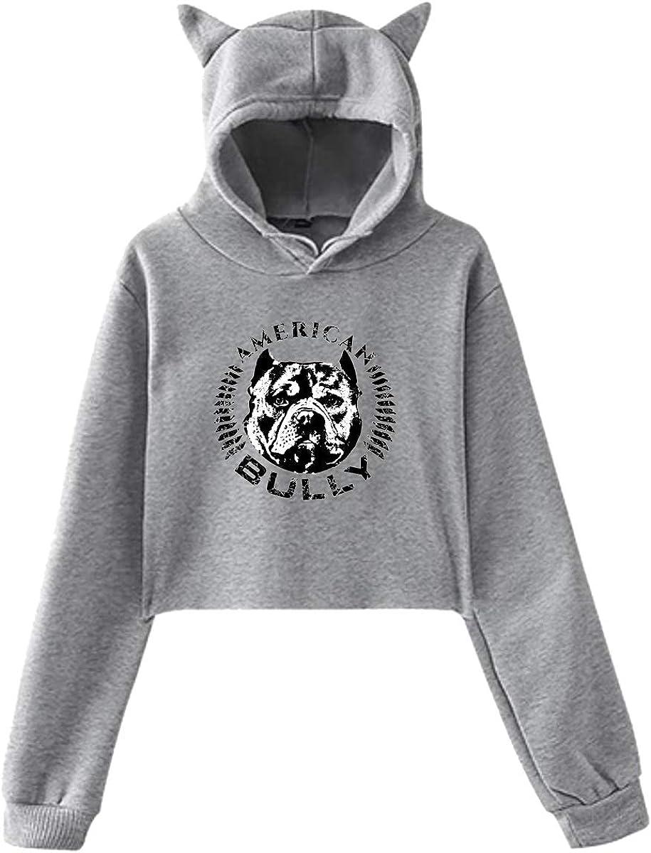 Women's Cat Ear Pullover Hoodie Sweater American Bully Long Sleeve Sweatshirt Hooded