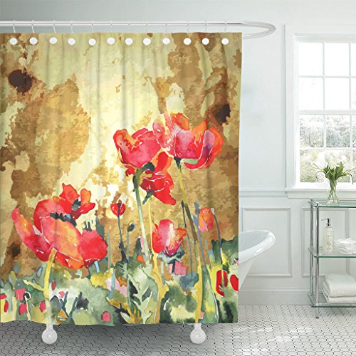 Emvency Shower Curtain Red Abstract Original Watercolor Poppy Flower in Gold Painting Waterproof Polyester Fabric 60 x 72 inches Set with Hooks - Original Abstract Watercolor