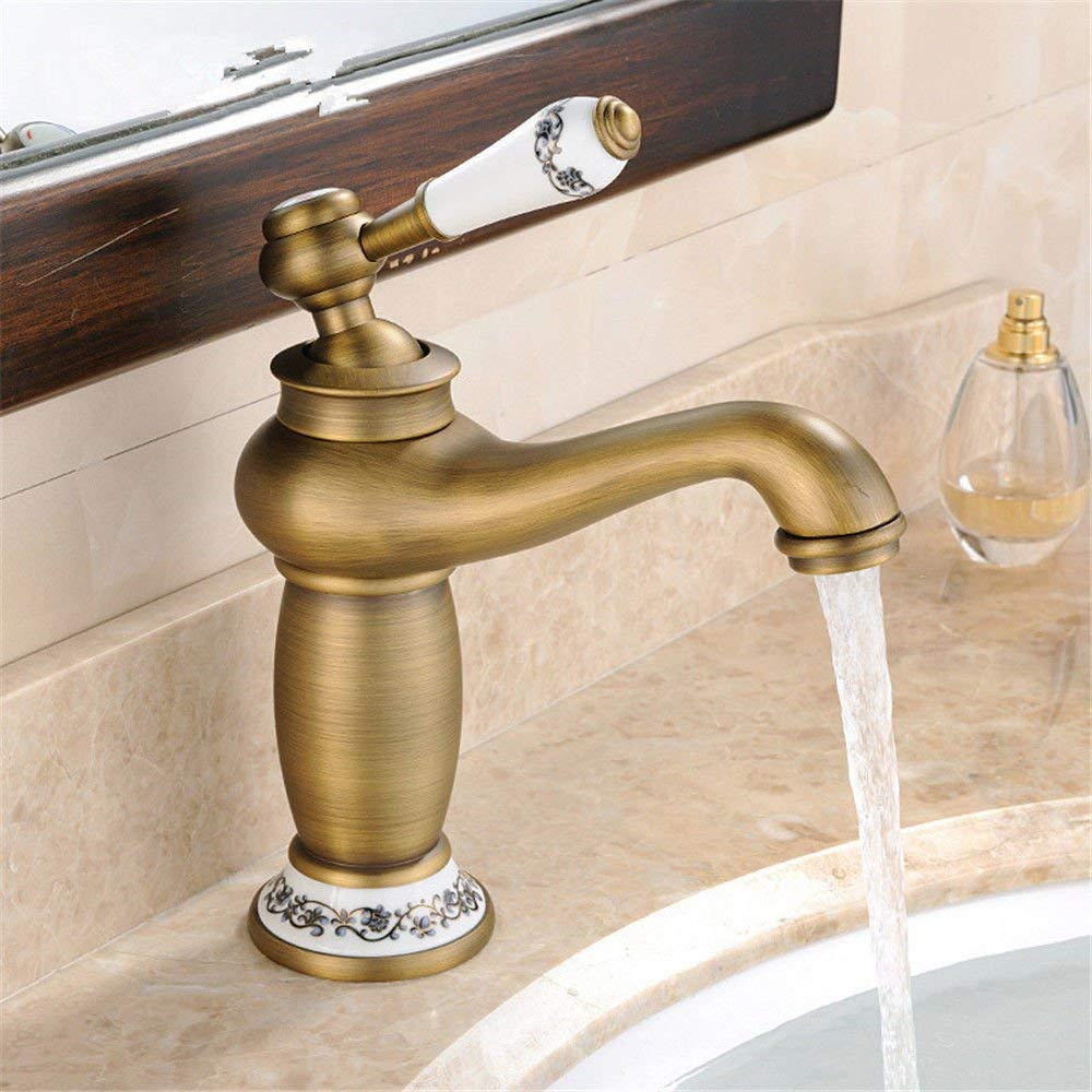 Kitchen Mixer tap Antique Kitchen Sink Basin Mixer tap Solid Brass hot and Cold Water Sink Faucet with redating spout Sink Faucet (color   -, Size   -)