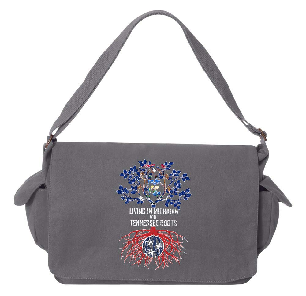 Tenacitee Living In Michigan with Tennessee Roots Grey Brushed Canvas Messenger Bag