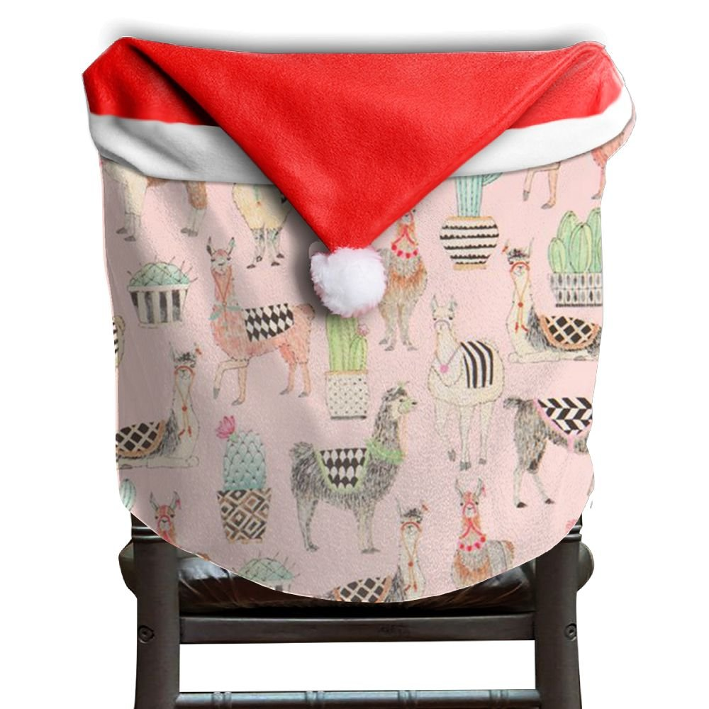 Llama Animal Christmas Chair Covers STYLISH Scratch Resistant Santa Hat Chair Covers For Unisex Chair Back Covers Holiday Festive