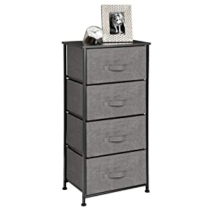 mDesign Vertical Dresser Storage Tower - Sturdy Steel Frame, Wood Top, Easy Pull Fabric Bins - Organizer Unit for Bedroom, Hallway, Entryway, Closets - Textured Print - 4 Drawers - Charcoal Gray