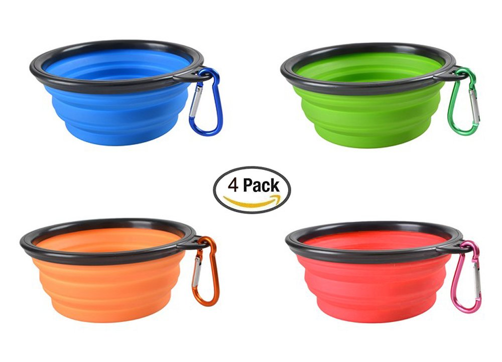 Elome 4 Pack Silicone Collapsible Dog Bowl, BPA Free FDA Approved, Foldable Expandable Cup Dish for Pet Cat Food Water Feeding Portable Travel Bowl, Blue & Green & Orange & Red