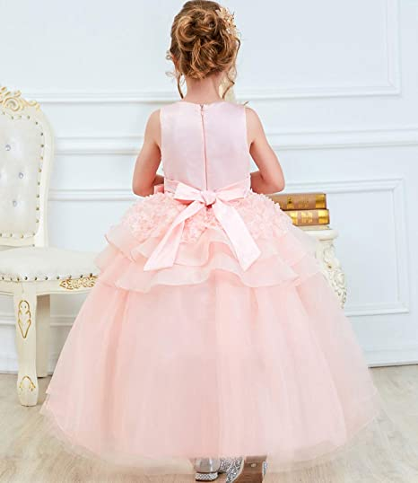 Girl Sleeveless Embroidery Princess Pageant Dresses Kids Prom Ball Gown