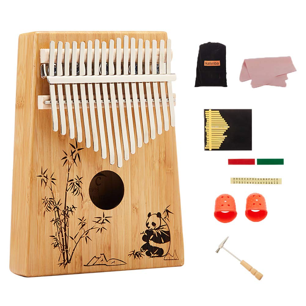 Yajun Kalimba 17 Keys Thumb Pianos Portable Marimbas Panda Pattern Child Beginner Music Instrument Simple Easy to Operate by Yajun