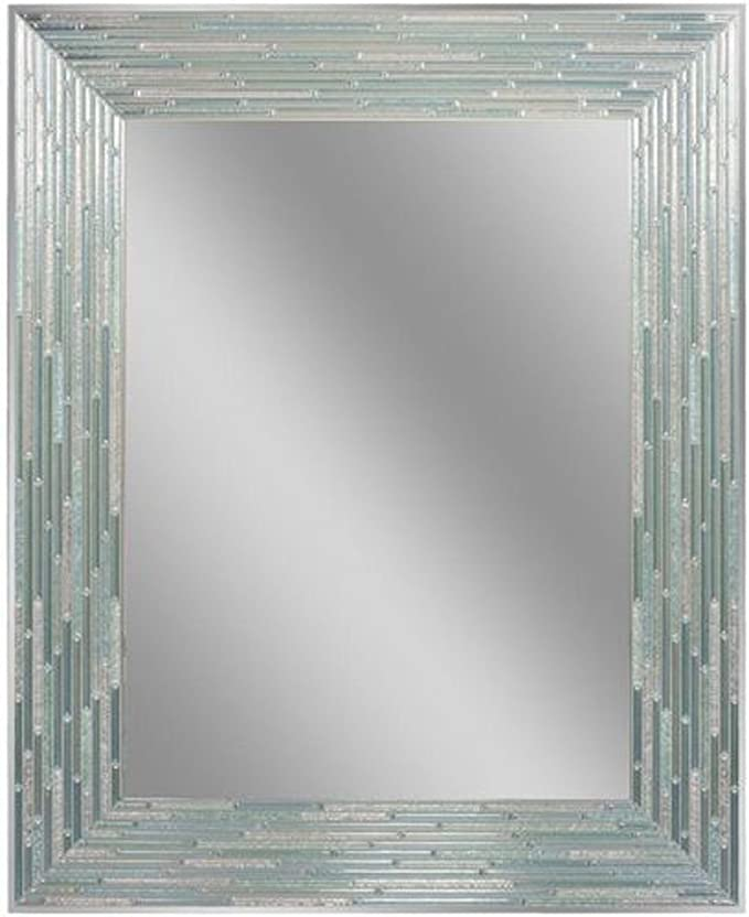 Headwest Reeded Sea Glass Wall Mirror, 24 inches by 30 inches, 24
