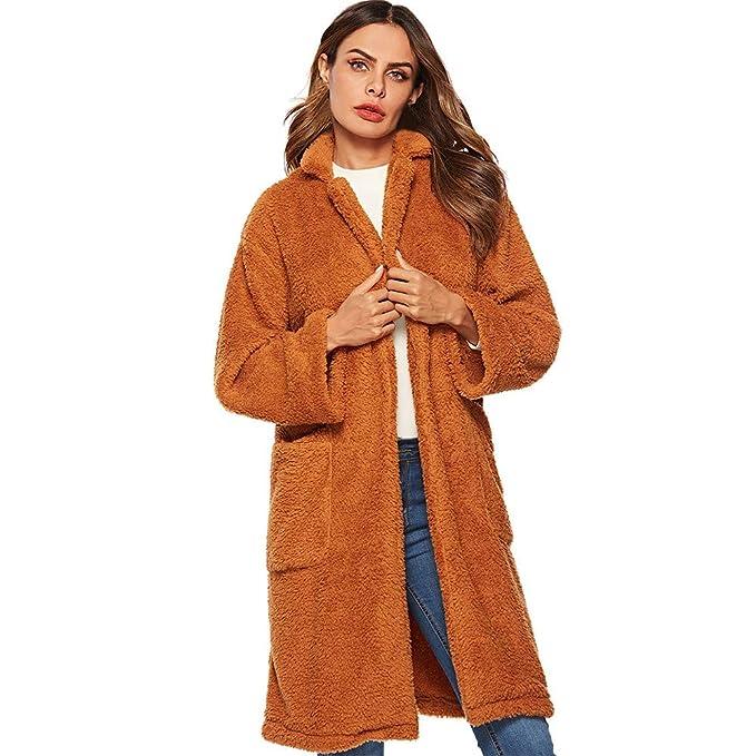 Luckycat Abrigo de Invierno de Mujer, Chaquetas de Abrigo de Piel sintética con Solapa Suelta