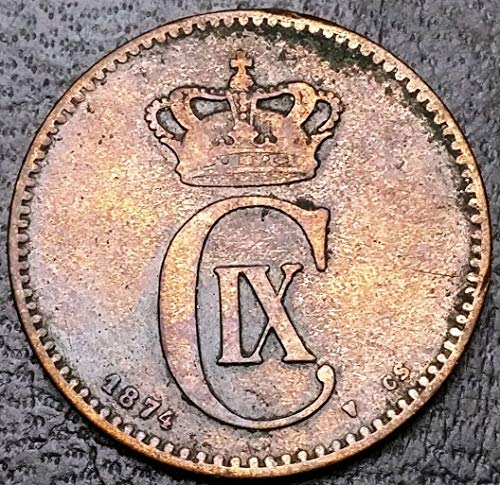 1874 Denmark 2 Ore Bronze Coin - Free Combined Shipping
