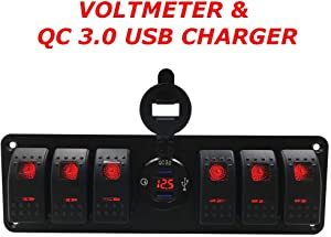 Switchtec 4 6 Gang Rocker Switch Panel w/QC 3.0 USB Charger & Voltmeter, Red Backlit LED, Pre-Wired, Waterproof Components for Boat, Marine, Car, Truck, Jeep, Can Am, Razor(QC 3.0 & 6 Switch Red)