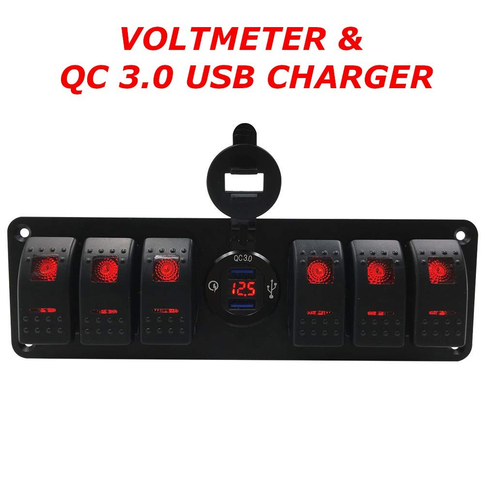 Switchtec 4 6 Gang Rocker Switch Panel w/QC 3.0 USB Charger & Voltmeter, Red Backlit LED, Pre-Wired, Waterproof Components for Boat, Marine, Car, Truck, Jeep, Can Am, Razor(QC 3.0 & 6 Switch Red) by Switchtec