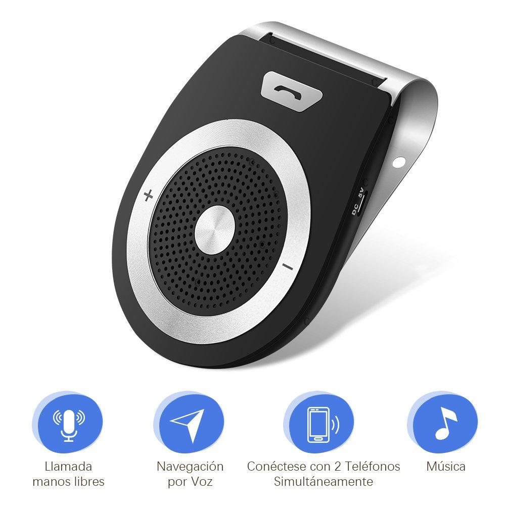 LOETAD Bluetooth Manos Libres Coche Kit Reducción de Eco y Ruido de Fondo para la Visera Soporta GPS Universal Música Altavoz Inalámbrico para Teléfonos ...