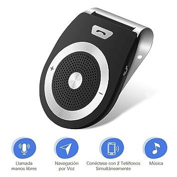 LOETAD Bluetooth Manos Libres Coche Kit Reducción de Eco y Ruido de Fondo para la Visera Soporta GPS Universal Música Altavoz Inalámbrico para ...