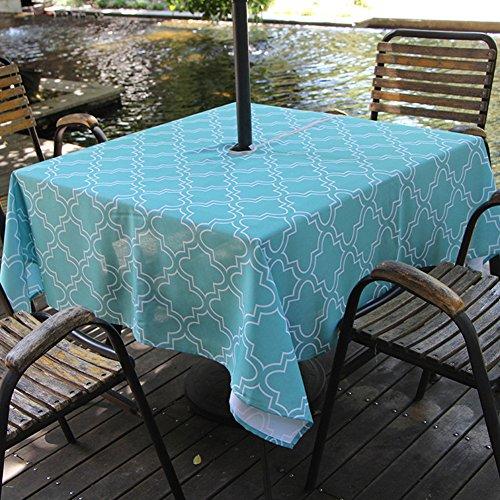 Grace Garden Bar Table - Fanjow Umbrella Tablecloth with Hole and Zipper, Lattice Umbrella Tablecloth, Zippered Umbrella Patio Tablecloth for Parties, BBQs, Family Gatherings (Turquoise, 60