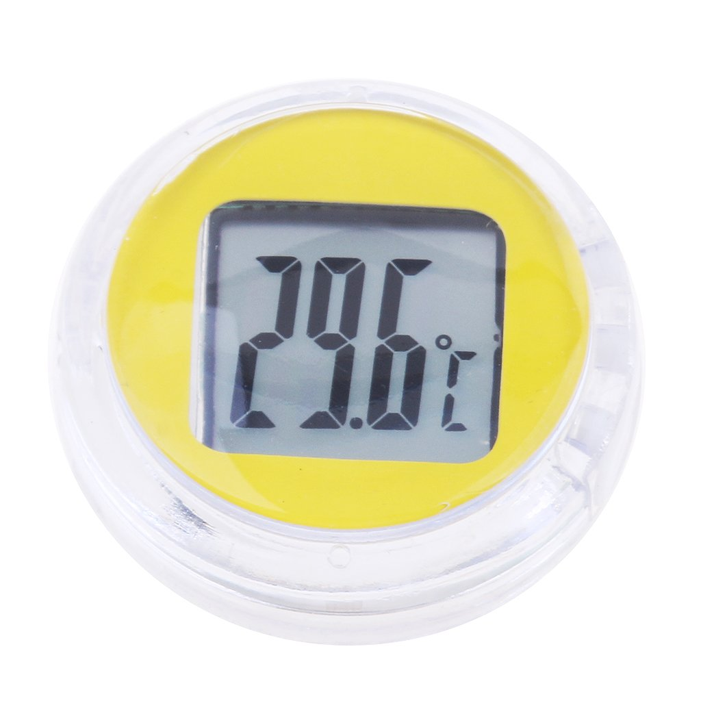 Black Waterproof Round Stick-On Thermometer Mini LCD Display Digital Temp Celsius Meter for Motorcycles Scooter Trucks Almencla Temperature Gauges
