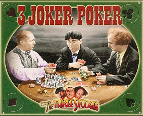 The Three Stooges - 3 Joker Poker Tin Sign 12 x 15in