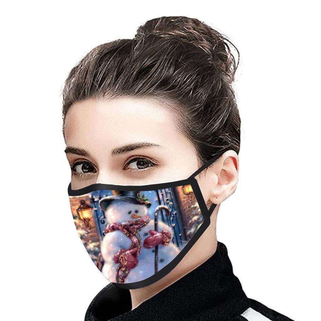 Stampa di Natale A Adulto Fasce Filtranti Bocca Naso Copri Bocca Facciale Pack 5 Pezzi Fascia Protettivo per Adulte Lavabile Riutilizzabile Antipolvere Traspiranti Bandana per Donna e Uomo