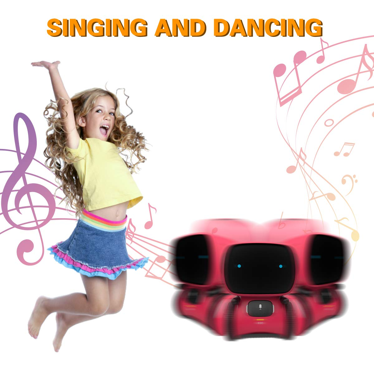 98K Kids Robot Toy, Smart Talking Robots, Gift for Boys and Girls Age 3+, Intelligent Partner and Teacher, with Voice Controlled and Touch Sensor, Singing, Dancing, Repeating by 98K (Image #5)