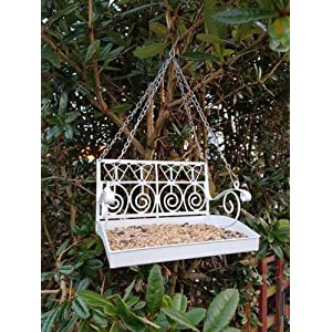 garden mile® White Hanging Bird Feeder Station Garden Bench Swing Seat Garden Decoration Bird Table Seed Nut Bird Feeding Station