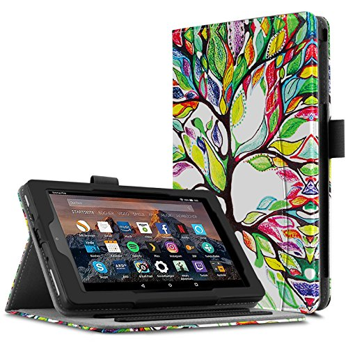 Infiland All-New Fire 7 Case - Smart Folio Stand Cover with Document Card Pocket for All-New Fire 7 Tablet (7th Generation, 2017 release) [Multi Viewing Angle] [Auto Wake/Sleep Feature], Lucky Tree