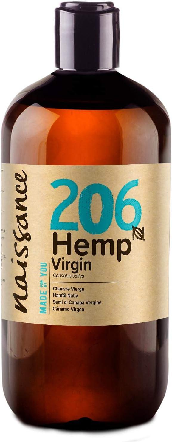 Naissance Aceite Vegetal de Semillas de Cáñamo n. º 206-500ml - 100% puro, prensado en frío, virgen, vegano y no OGM