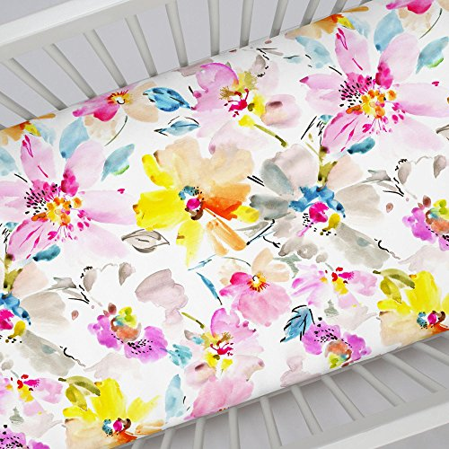 (Carousel Designs Watercolor Floral Crib Sheet - Organic 100% Cotton Fitted Crib Sheet - Made in The USA)