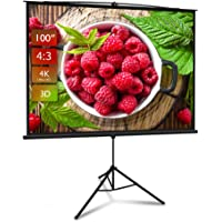 Projector Screen with Stand, Premium 3 Layers 100 inch 4K HD 4:3 Projector Screen Pull Down Screen, Protable Outdoor/Indoor Projector Screen Wrinkle Free for Office Home Theater Backyard Movie