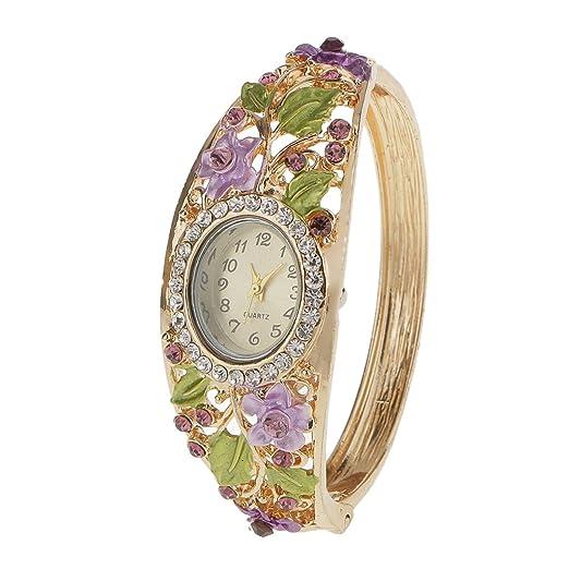 a92a0b420e38 Pulsera Reloj Cuarzo Multicolor Novedoso de Moda Cristal Flores Reloj del Brazalete  Mujer Boda Navidad Regalo  Amazon.es  Relojes