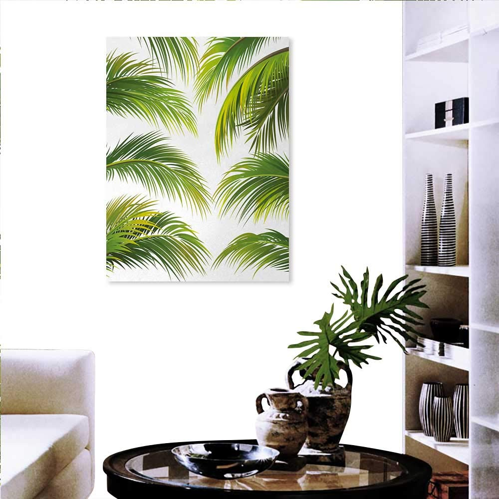 Amazon com palm leaf stickers wall home vivid palm leaves growth jungle lush foliage summer forest botany fashion stickers wall 32x48 green lime green