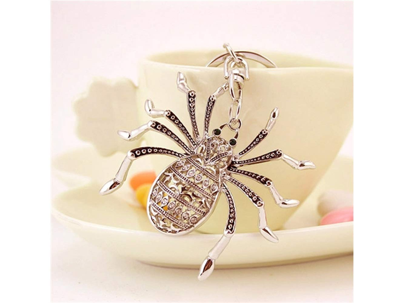 Car Keychain, Exquisite Personality Big Spider Keychain Animal Key Trinket Car Bag Key Holder Decorations(Silver) for Gift by Huasen (Image #2)