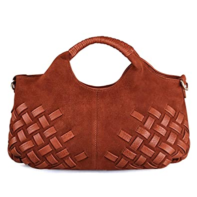 Image Unavailable. Image not available for. Color  Latest Women Weave Suede  Split Leather Handbag Female Leisure Casual Lady Crossbody Shoulder Bag ... aae7555f61c4c