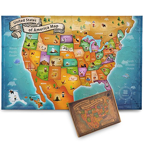 US Floor Map Puzzle - Best USA Puzzle Map for Kids and Adults - A New Map of Wonders with Easy-Clean Surface - Promotes Hand-Eye Coordination and Problem Solving - Eye Locations Americas Best