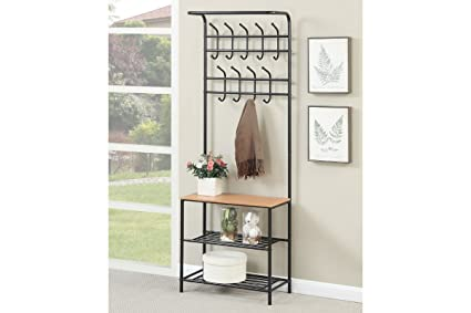 Metal Entryway Storage Shoe Bench With Coat Hat Rack Hooks