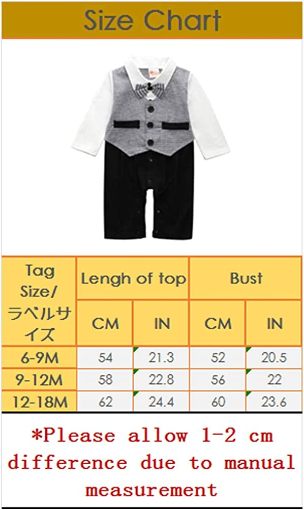ARAUS Baby Boy Gentleman Christening Suit Formal Wedding Tuxedo Suit Long Sleeve Bow tie Romper Blazer Clothes Outfits for 0-24M