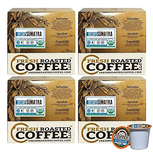 Essential Sumatra Decaf Fair Trade Single-Serve Coffee Pods, 72 Capsules for Keurig K-Cup Brewers, Fresh Roasted Coffee LLC. (72 Count)