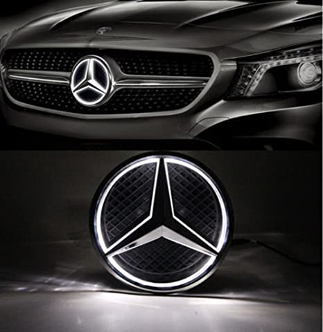 Cszlove Car Front Grilled Star Emblem Led Illuminated Logo For Mercedes Benz 2010 2013 Abces Glk Ml Class Center Front Badge Lamp Light White