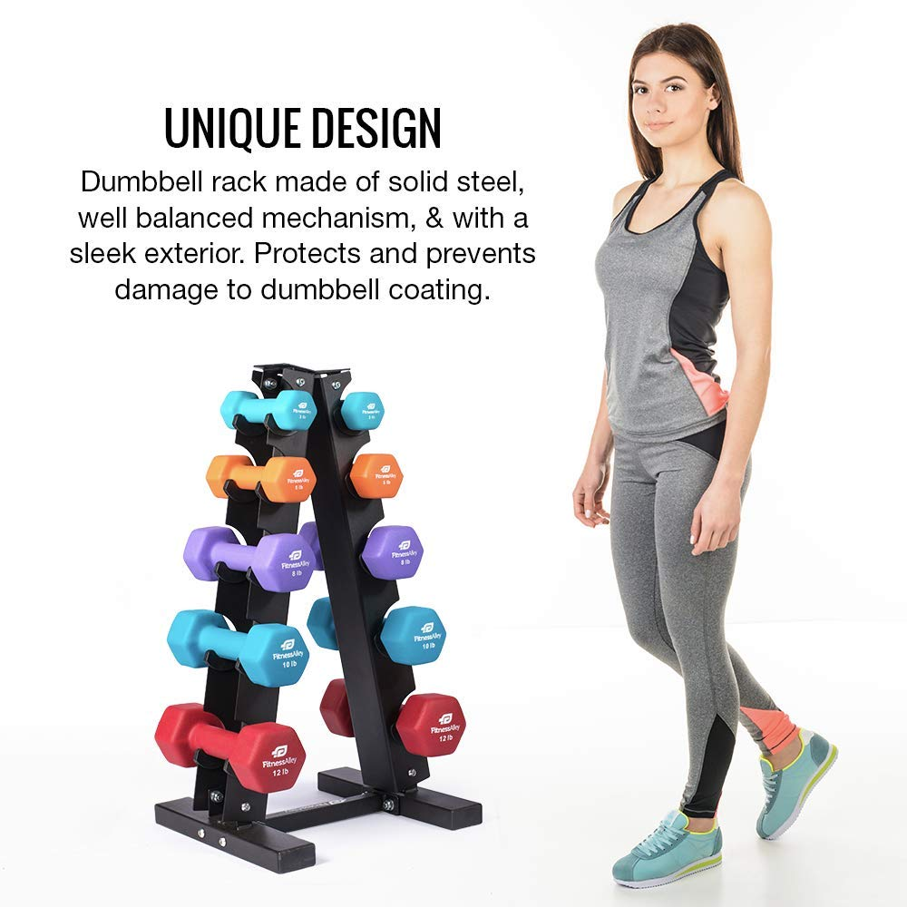 Fitness Alley Steel Dumbbell Rack - 5 Tier Weight Holder & 5 Tier Weight Rack Dumbbell Stand - Dumbbell Holder - Dumbbell Rack Stand - Weight Racks for Dumbbells of All Sizes by Fitness Alley (Image #4)