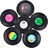 Vinyl Record Coasters for Drinks, Home Decor, Hot Coffee Cup Placement Pads, Set of 6 Pieces
