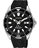 Citizen Promaster Diver Men's Solar Powered Wrist watch, Rubber Strap with Black Dial Display, BN0200-13E