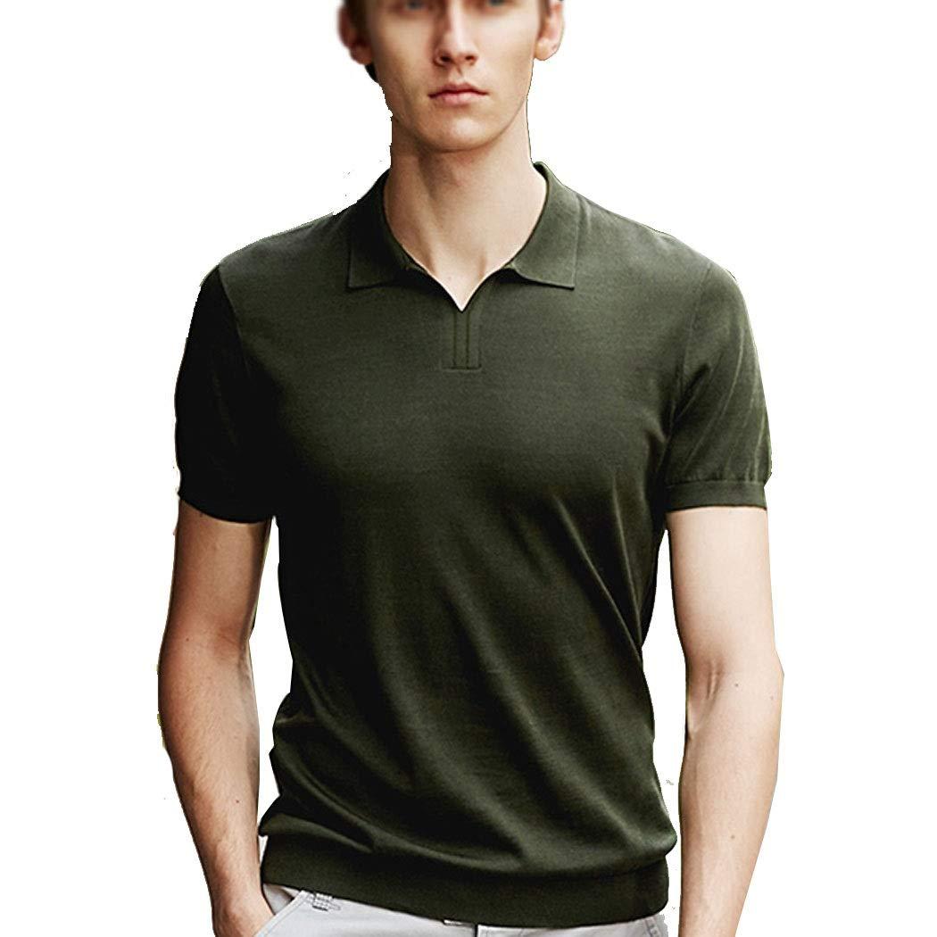 vert M HUIFANGTSHIRT T-Shirt à Manches Courtes en Tricot D'été De Mode pour Hommes De Couleur Unie en Tricot De Revers T-Shirt à Manches Courtes Vert Noir S-XXXL